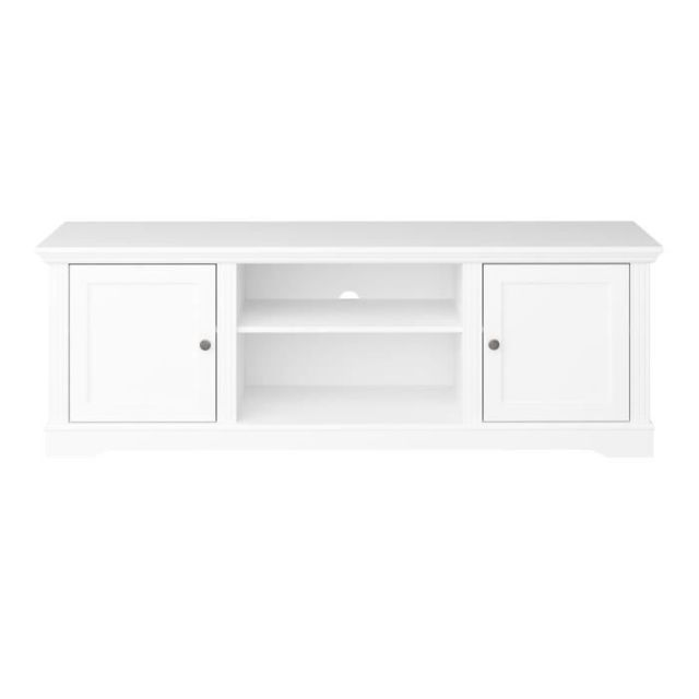 meuble tv meuble hi fi venice meuble tv 2 portes laque blanc l 160 x p 40
