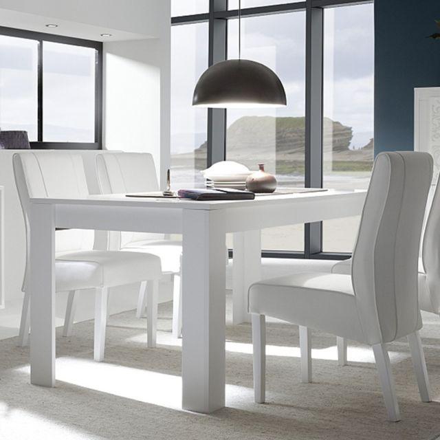 table a manger blanc laque mat design olivia sans rallonge l 180 cm