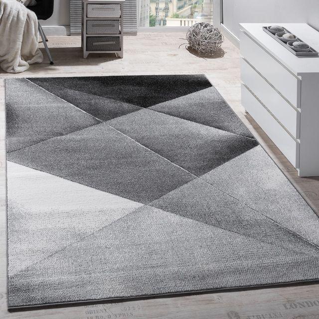 tapis design moderne motifs geometriques poils ras gris noir blanc chine