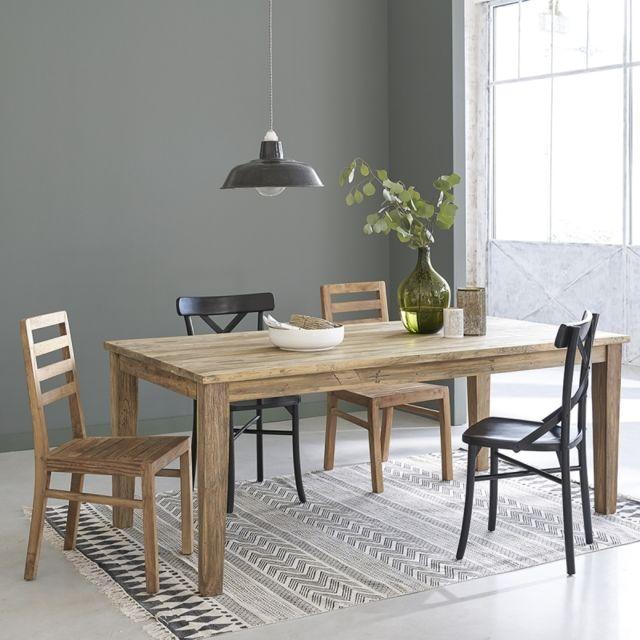 table extensible en bois de teck recycle 8 a 12 couverts