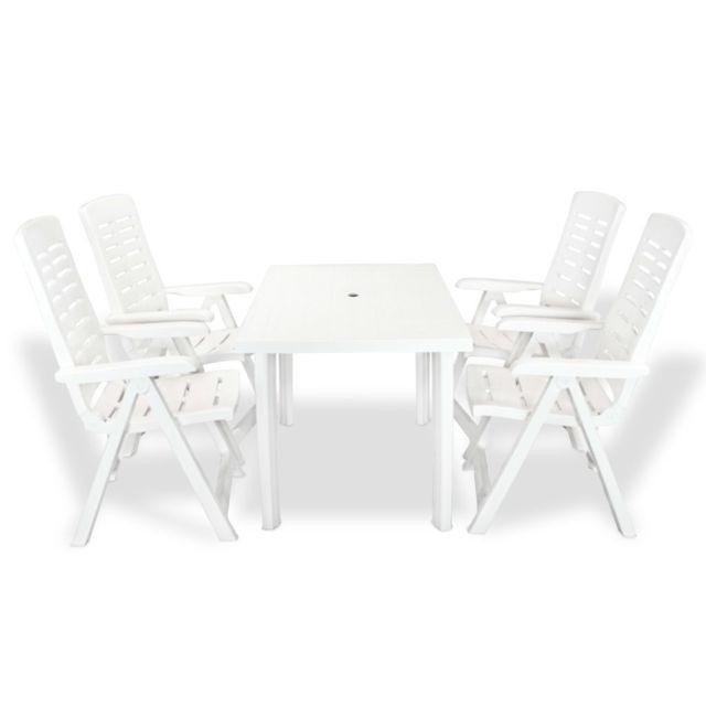 vidaxl mobilier a diner d exterieur 5 pcs plastique blanc