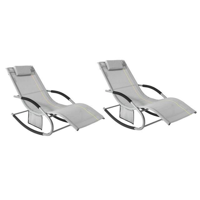 sobuy ogs28 hg x2 lot de 2 bain de soleil chaise longue fauteuil a bascule avec
