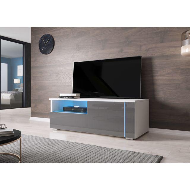 meuble tv moderne banc tv conesa 100 cm blanc gris