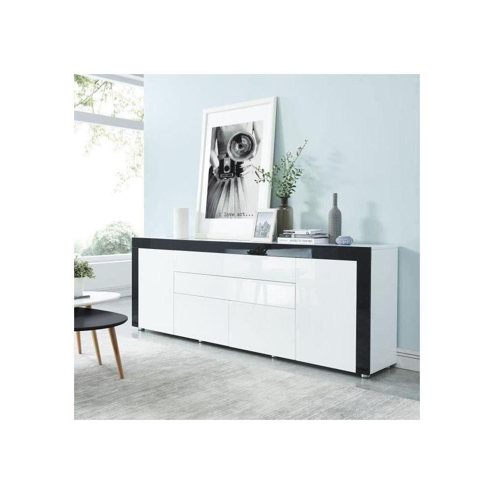 marque generique buffet bahut enfilade vox buffet contemporain laque blanc et noir brillant l 200 cm