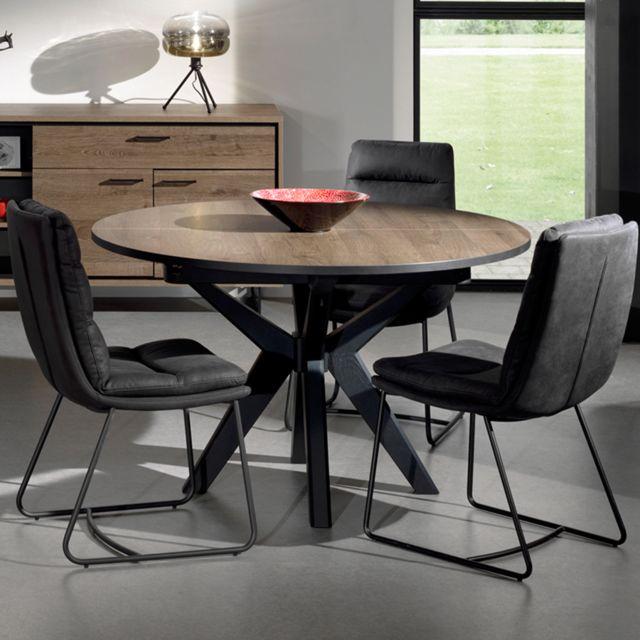 table ronde extensible 130 cm couleur chene fonce estelle