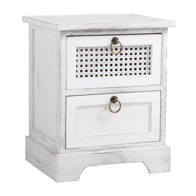 table de chevet irma petite commode de nuit avec 2 tiroirs en bois paulownia