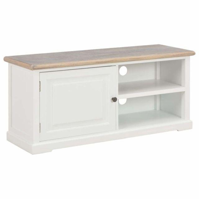 meuble tele buffet tv television design pratique blanc 90 cm bois 2502117