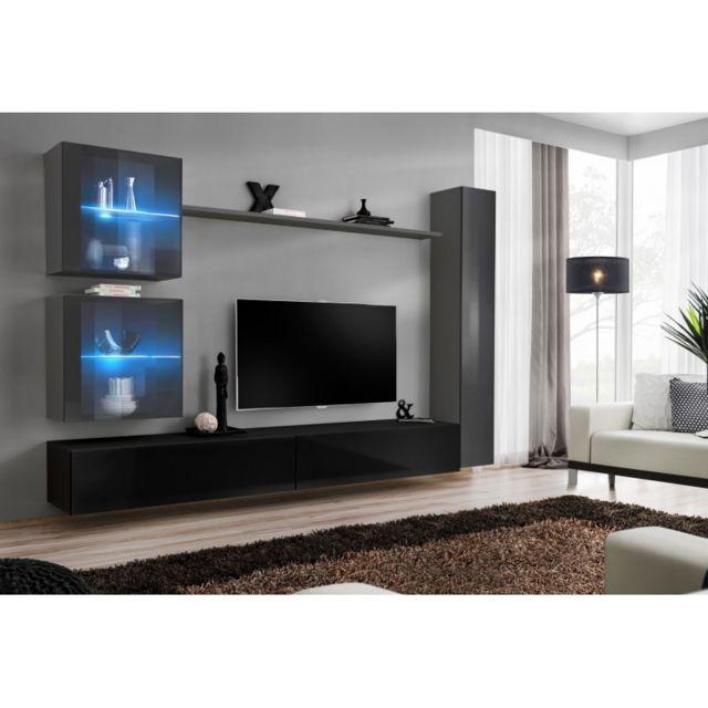 meuble tv mural design switch xviii 280cm noir gris