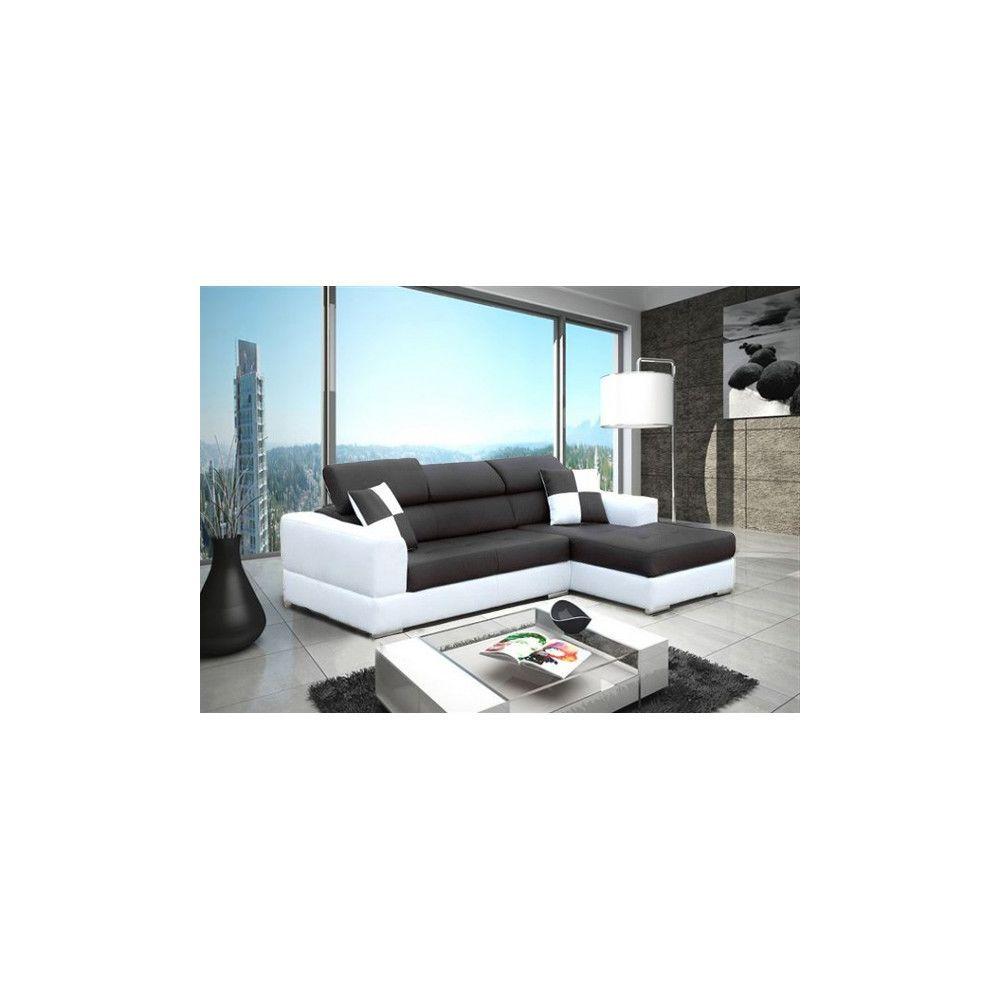 meublesline canape d angle 4 places neto moderne noir et blanc simili cuir