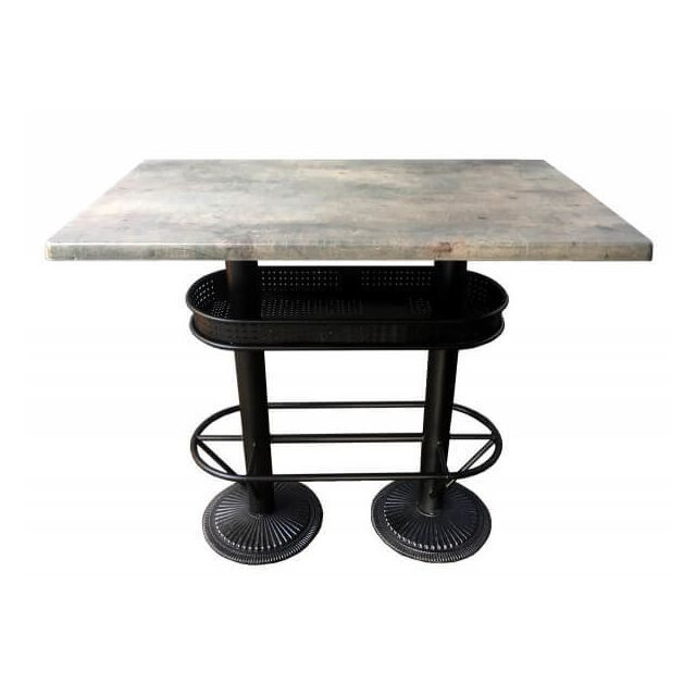 oakland table bistrot industriel plateau effet beton gris