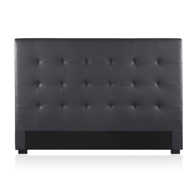 tete de lit capitonnee premium 160cm noir