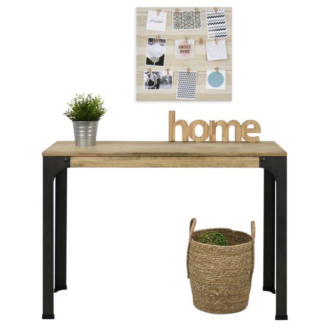 table d entree console style industriel vintage 39x70x75 cm