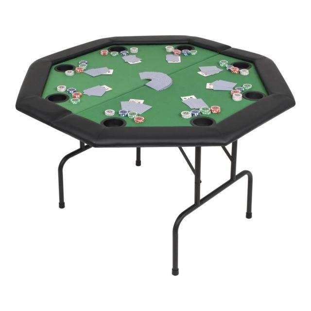 vidaxl table de poker pliable pour 8 joueurs 2 plis octogonale vert