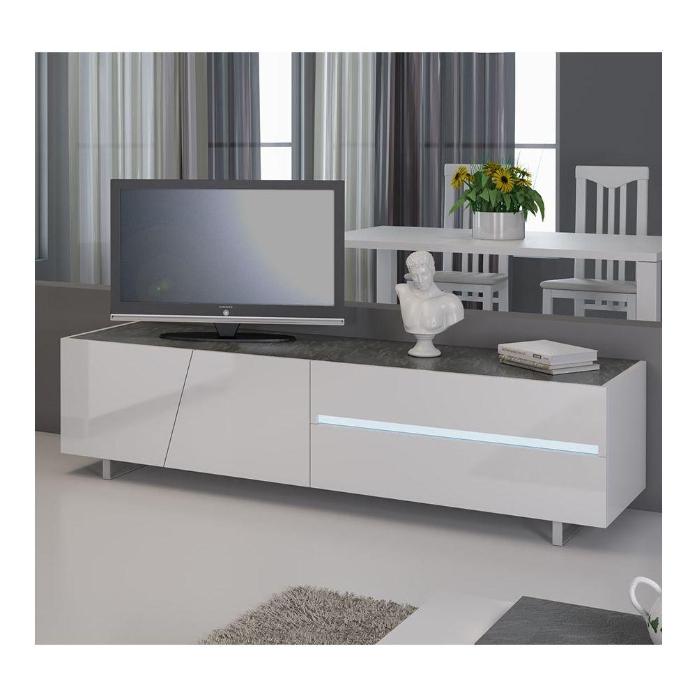 sofamobili meuble tv blanc laque avec eclairage a led integre design joshua