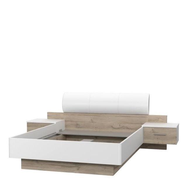 structure de lit morolla lit adulte 140x190 cm avec 2 chevets tete de lit en