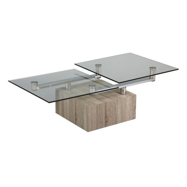 table basse carre socle en bois et plateau en verre trempe