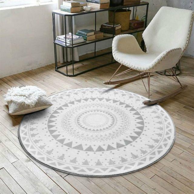 tapis ronds pour de jeu enfants de salontaille 100 cm de diametre gris clair