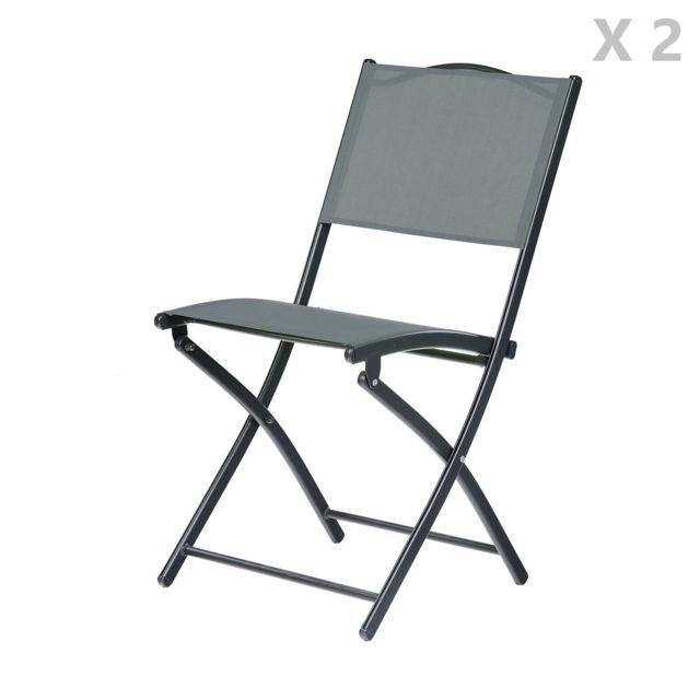 2 chaises de jardin pliantes en acier mallorca gris anthracite