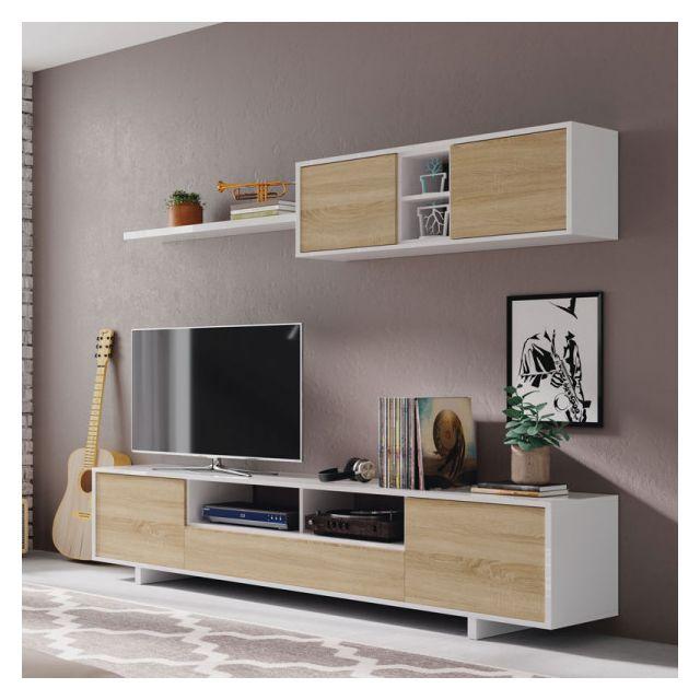 composition tv blanc chene clair irvine l 200 x l 41 x h 46 cm