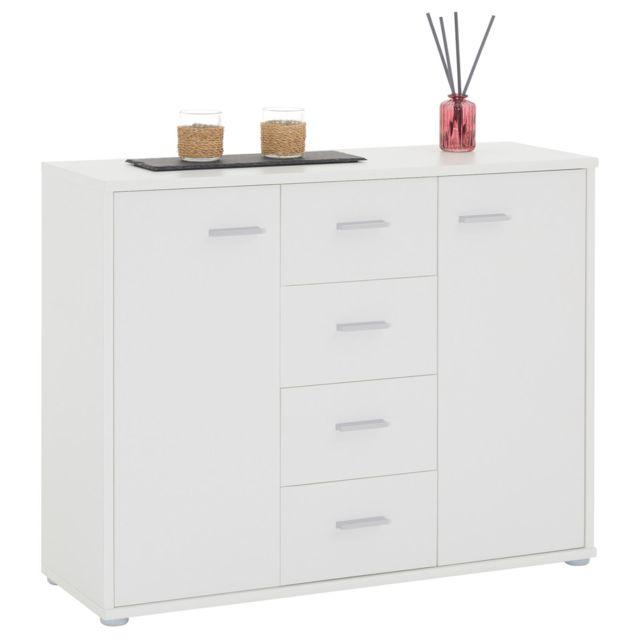 buffet elodie commode meuble de rangement avec 4 tiroirs et 2 portes en