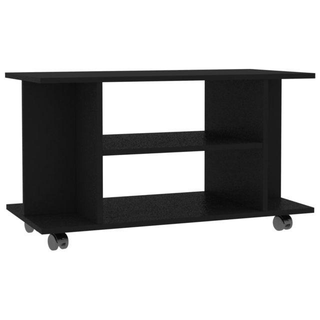 icaverne meubles tv categorie meuble tv avec roulettes noir 80 x 40 x 40 cm