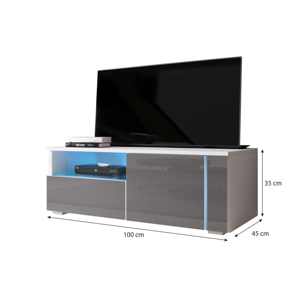 furnix meuble tv moderne banc tv conesa 100 cm blanc gris