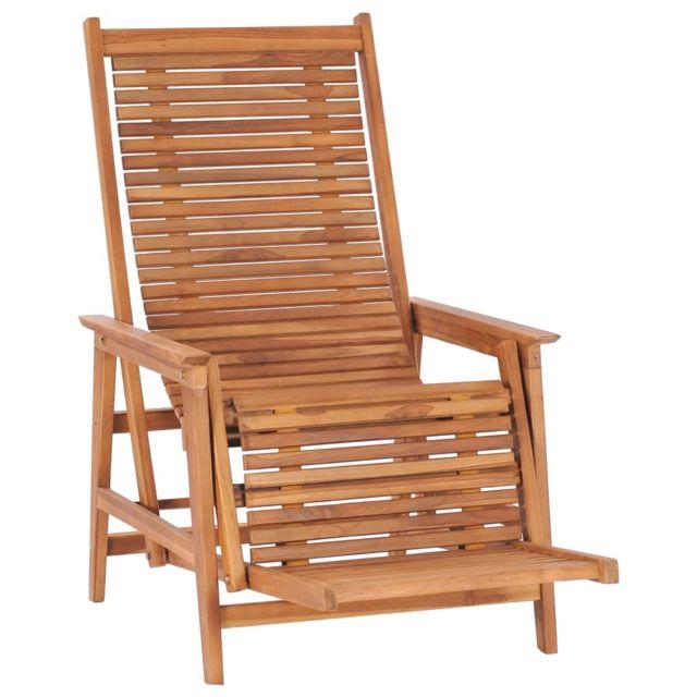 vidaxl chaise longue de jardin avec repose pied bois de teck solide
