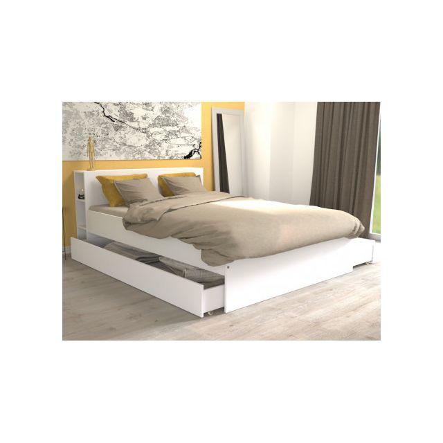lit eugene avec tete de lit rangements et tiroirs 140x190cm blanc