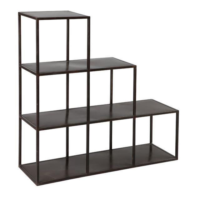 etageres escalier en acier noir boxy