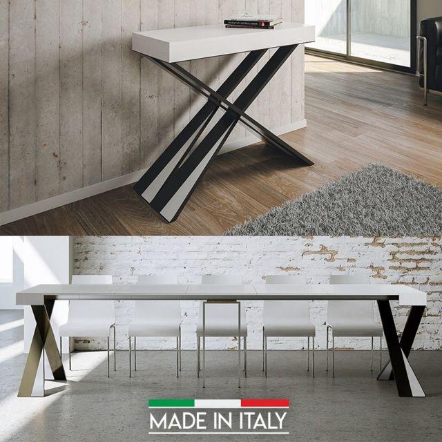 table console extensible diago frene blanc nombre d extensions 5 rallonges