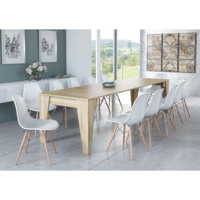 table console tm extensible avec rallonges jusqu a 305 cm chene