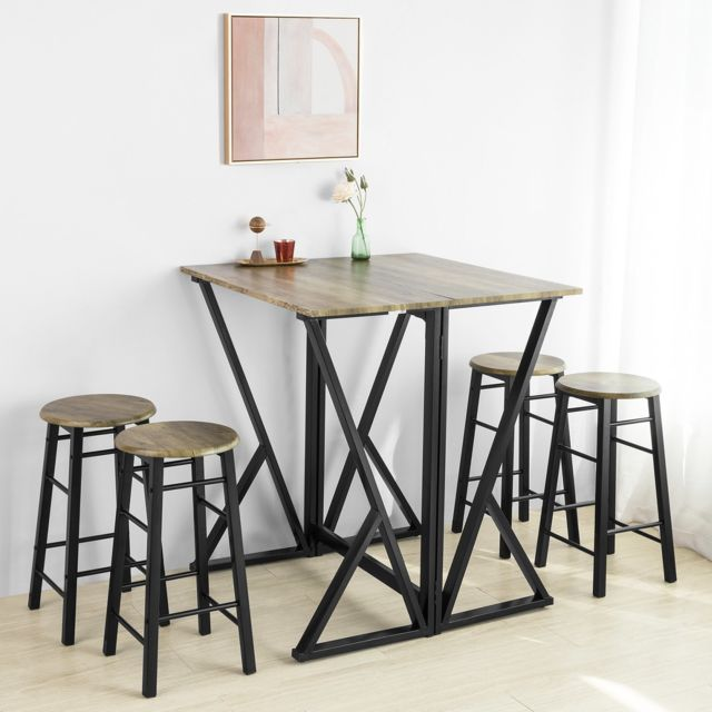 sobuy ogt24 n set de 1 table 4 chaises ensemble table de bar bistrot 4