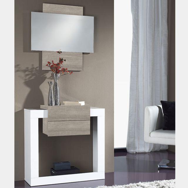 mobilier d entree blanc et couleur bois clair moderne savoca 2