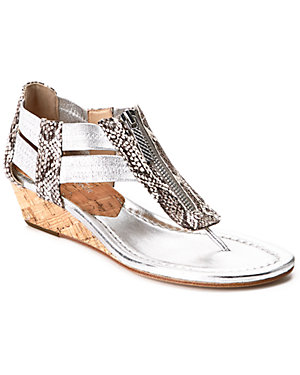 Donald J Pliner 'Dori' Snakeskin-<wbr/>Embossed Leather & Cork Wedge Thong Sandal