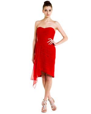 ML Monique Lhuillier Red Silk Strapless Asymmetrical Dress