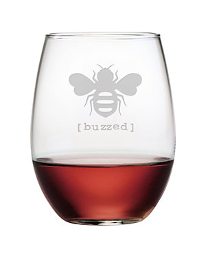 'Buzzed' Set of 4 Stemless Wine Glasses
