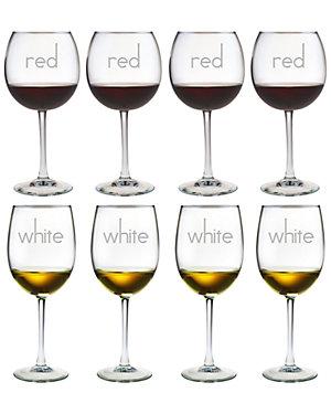 Set of 8 White Wine & Balloon Wine Glasses
