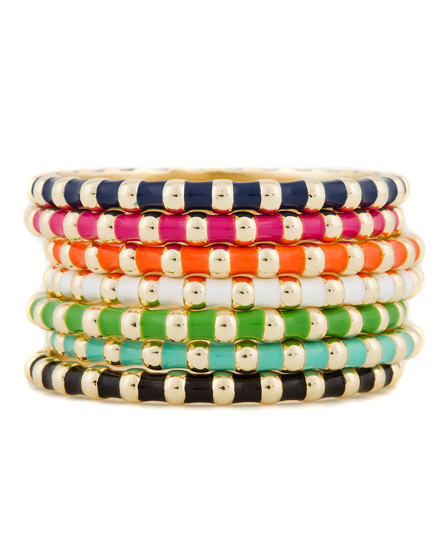 Fornash 'Baton' Set of 7 Plated Enamel Bangles