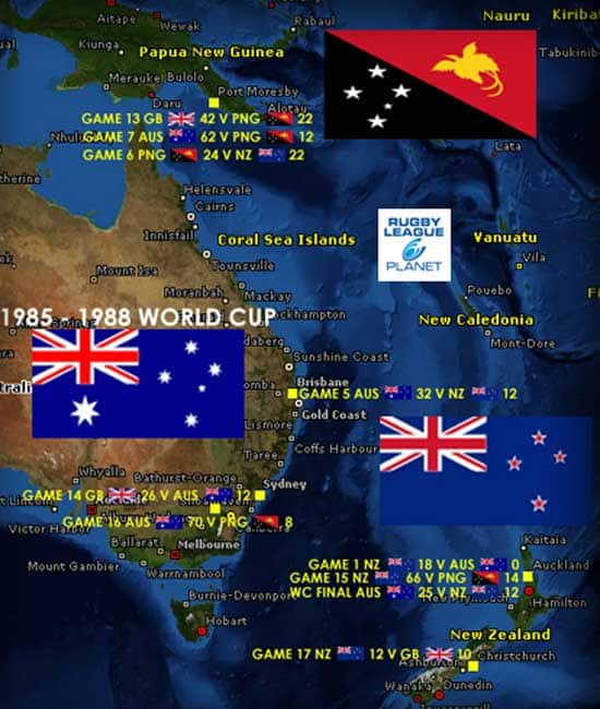 1985 to 1988 Rugby League World Cup map 2