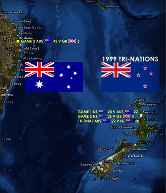 1999 Rugby League Tri-Nations map