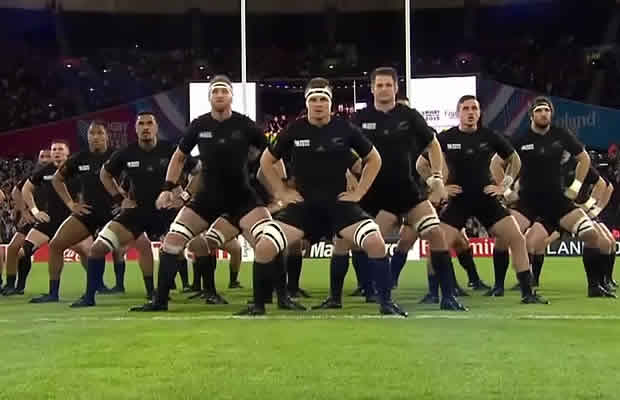 All Blacks haka at the Olympic Stadium  Rugby World Cup