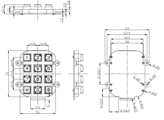 Small Die Casting Metal Keypad Dot Matrix With 12 Keys