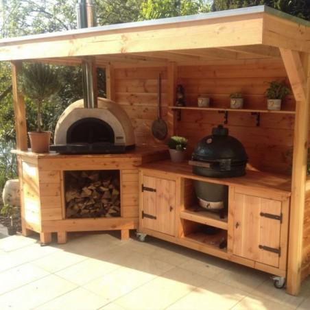 outdoor bbq pizza wooden kitchen area