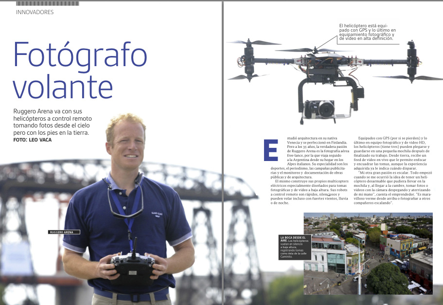 the magazine Clarin Pymes, from Argentina, featuring an article about Fotografovolante