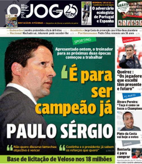 Entrevista ao novo treinador Paulo Sergio: «Venho para ser campeão já»