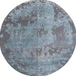 Indian Floral Blue Round 7 To 8 Ft Wool And Viscose Carpet 136081 Sku 136081
