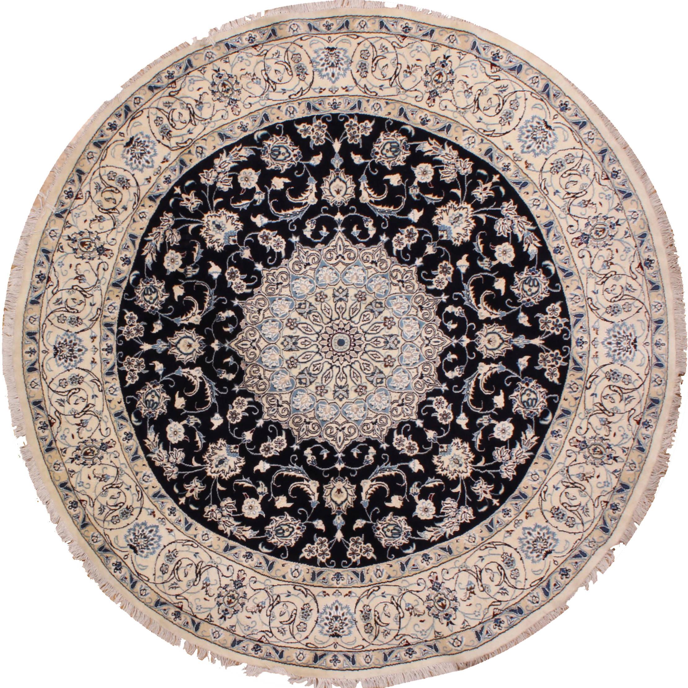 Persian Nain Blue Round 7 To 8 Ft Wool Carpet 31014 Sku 31014