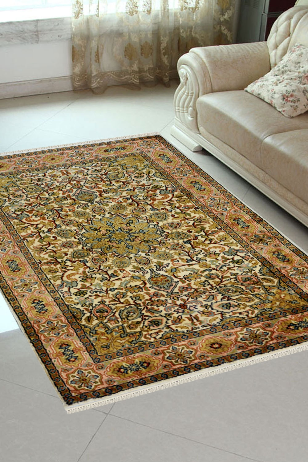 Buy one of a kind Floral gold medallion Silk Rug at