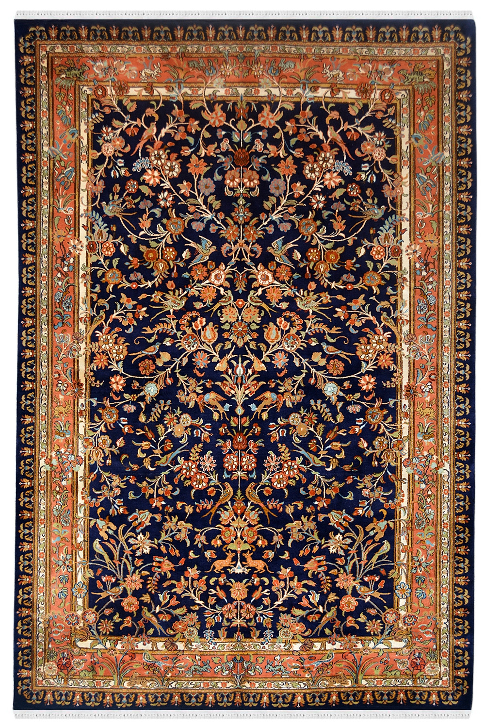 Buy Beautiful Floral Garden Handmade Silk Rug at Rugs and