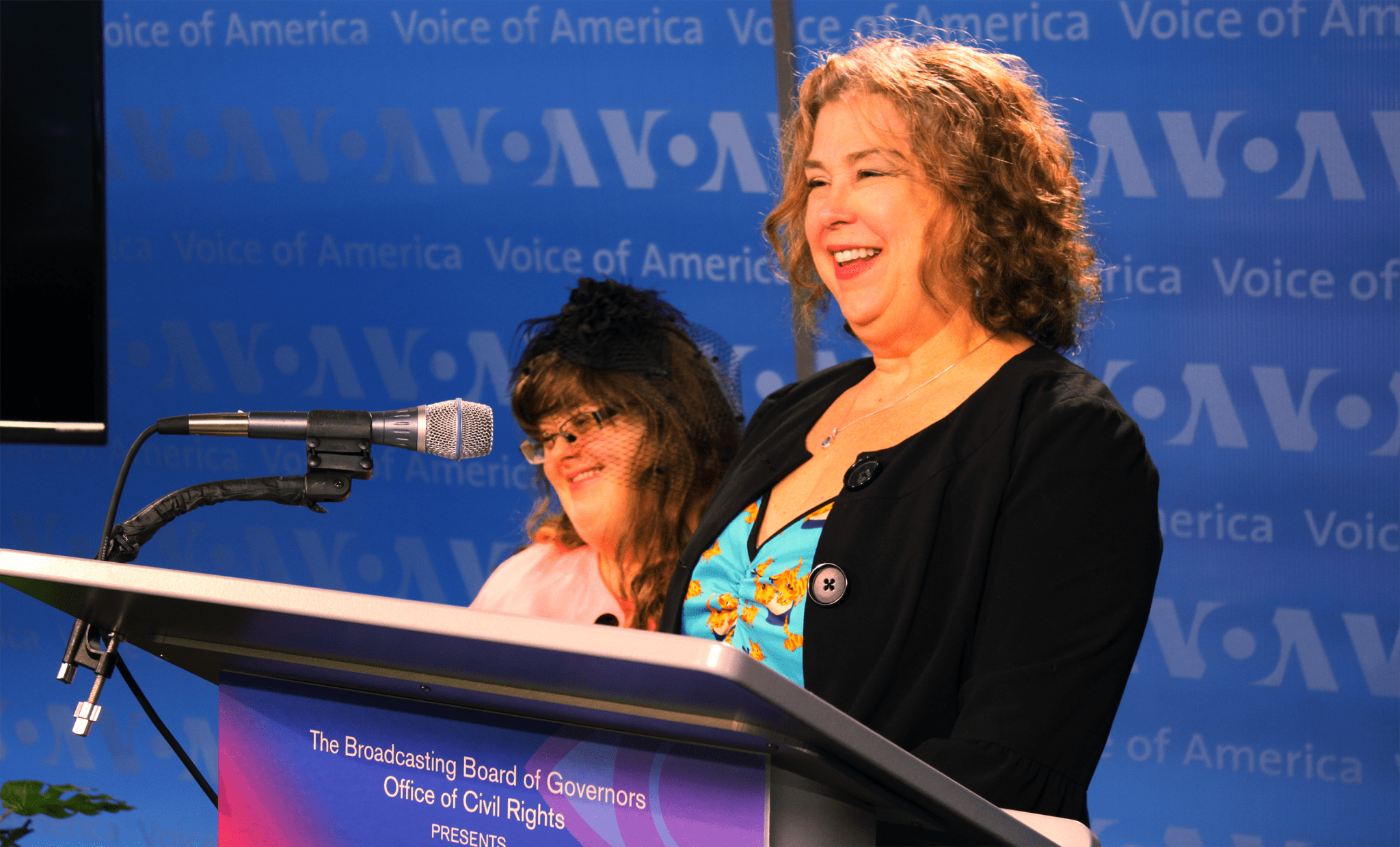Debra and Sara Ruh at the Voice of America, where they spoke on the importance of Disability Employment